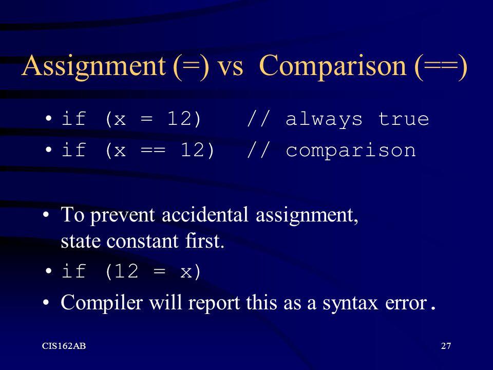 Assignment (=) vs Comparison (==)
