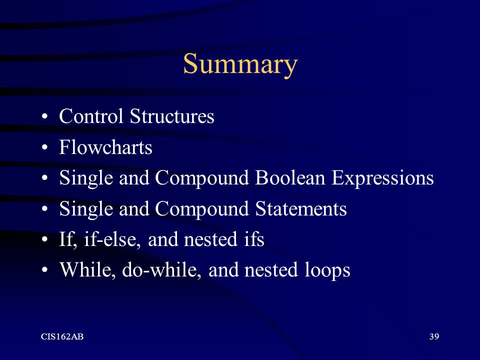 Summary Control Structures Flowcharts
