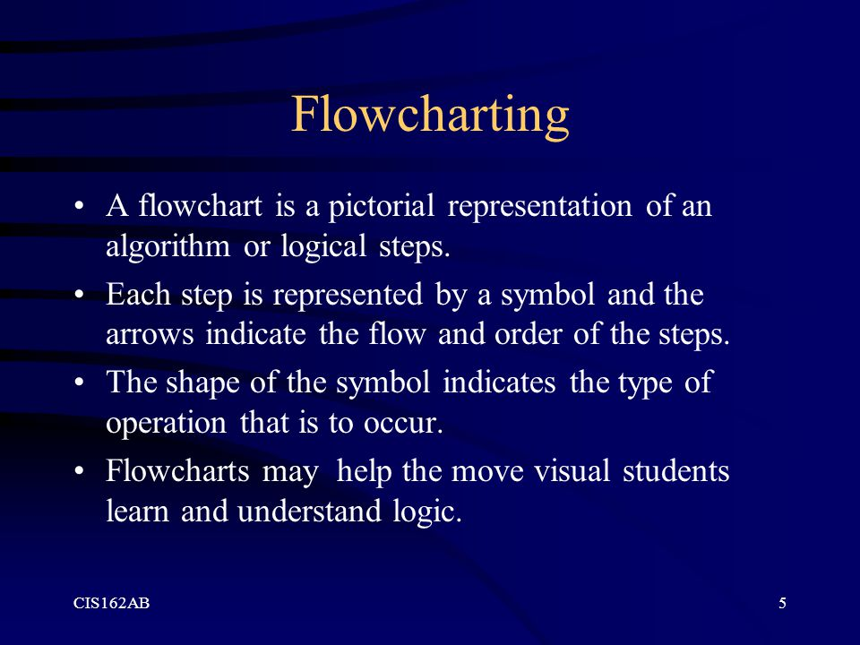 Flowcharting A flowchart is a pictorial representation of an algorithm or logical steps.