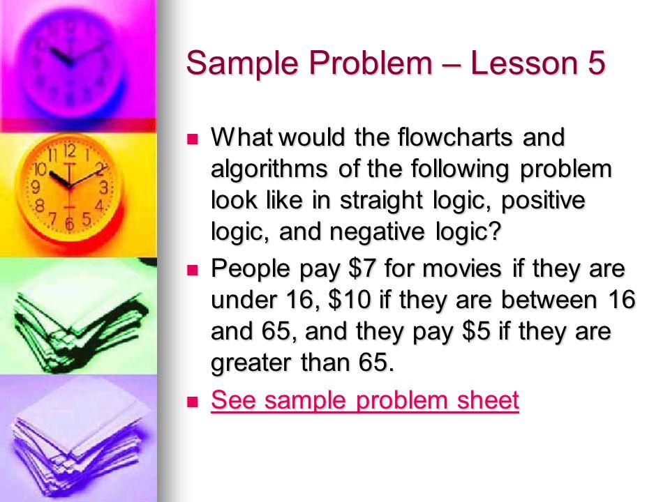 Sample Problem – Lesson 5