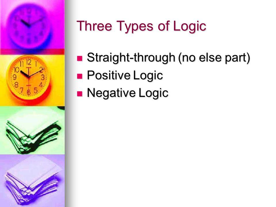 Three Types of Logic Straight-through (no else part) Positive Logic