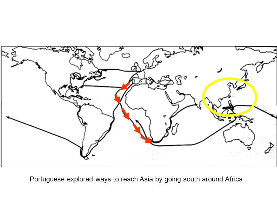 Portuguese explored ways to reach Asia by going south around Africa