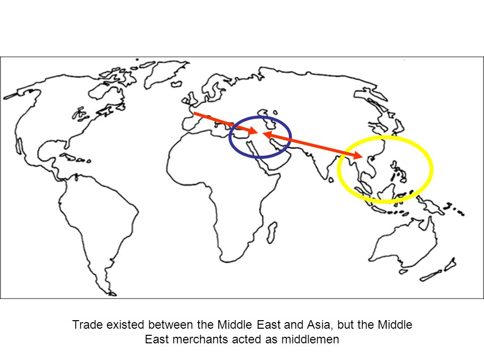 Trade existed between the Middle East and Asia, but the Middle East merchants acted as middlemen