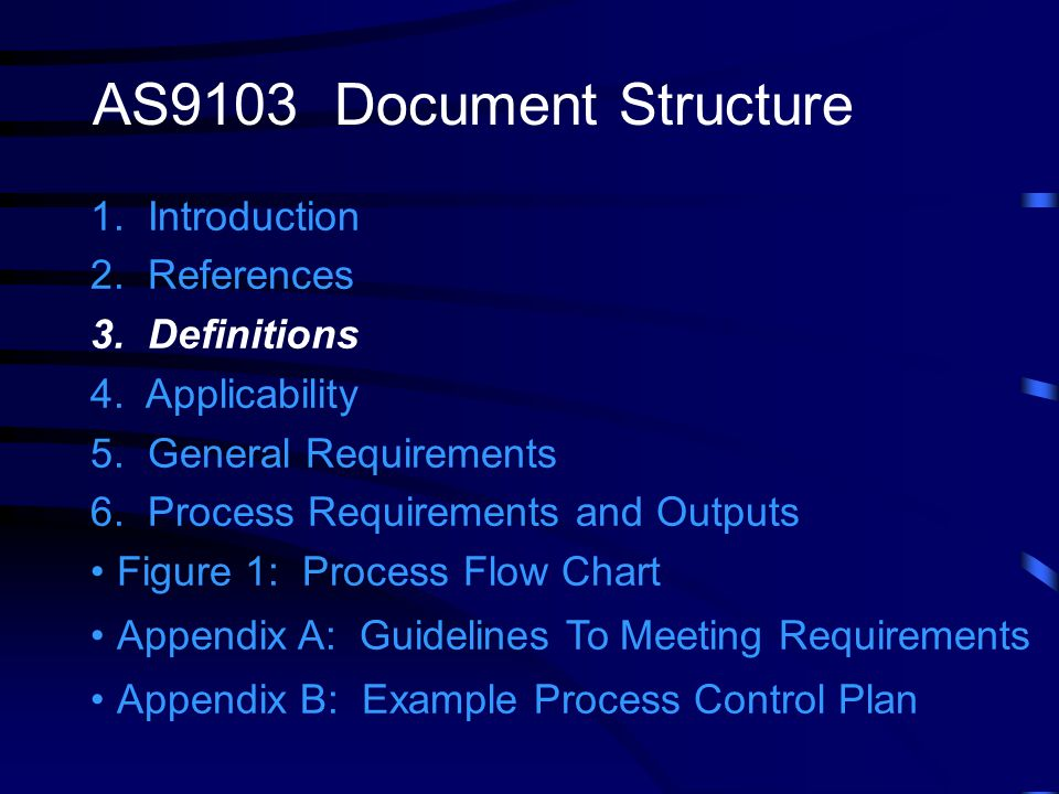 AS9103 Document Structure 1. Introduction 2. References 3. Definitions