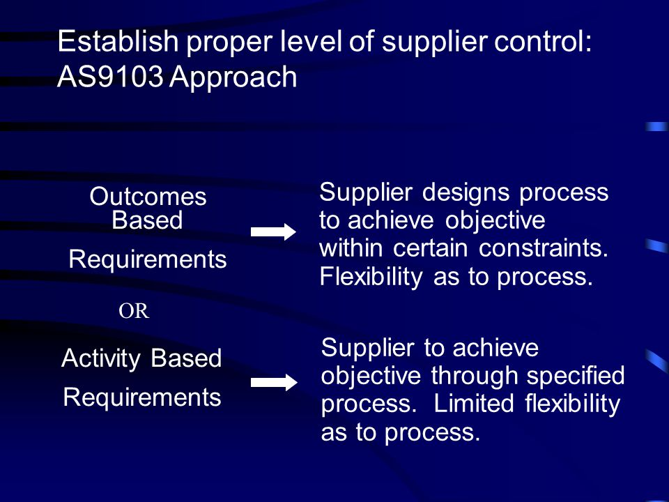 Establish proper level of supplier control: AS9103 Approach