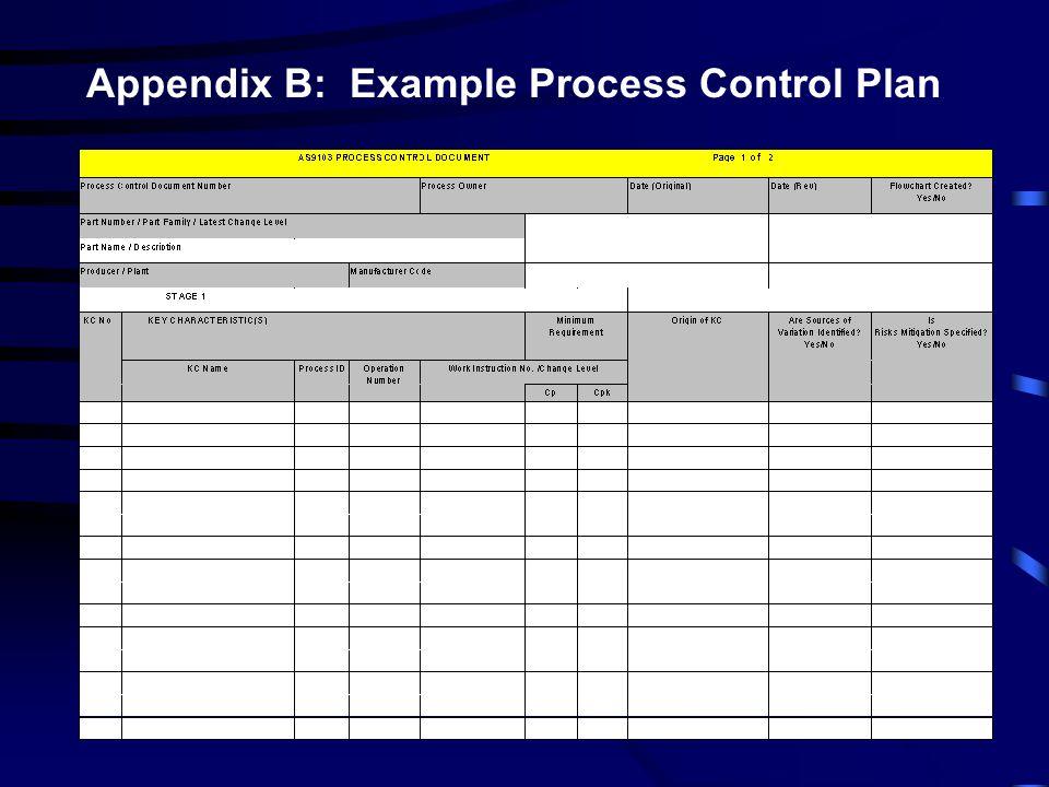 Appendix B: Example Process Control Plan
