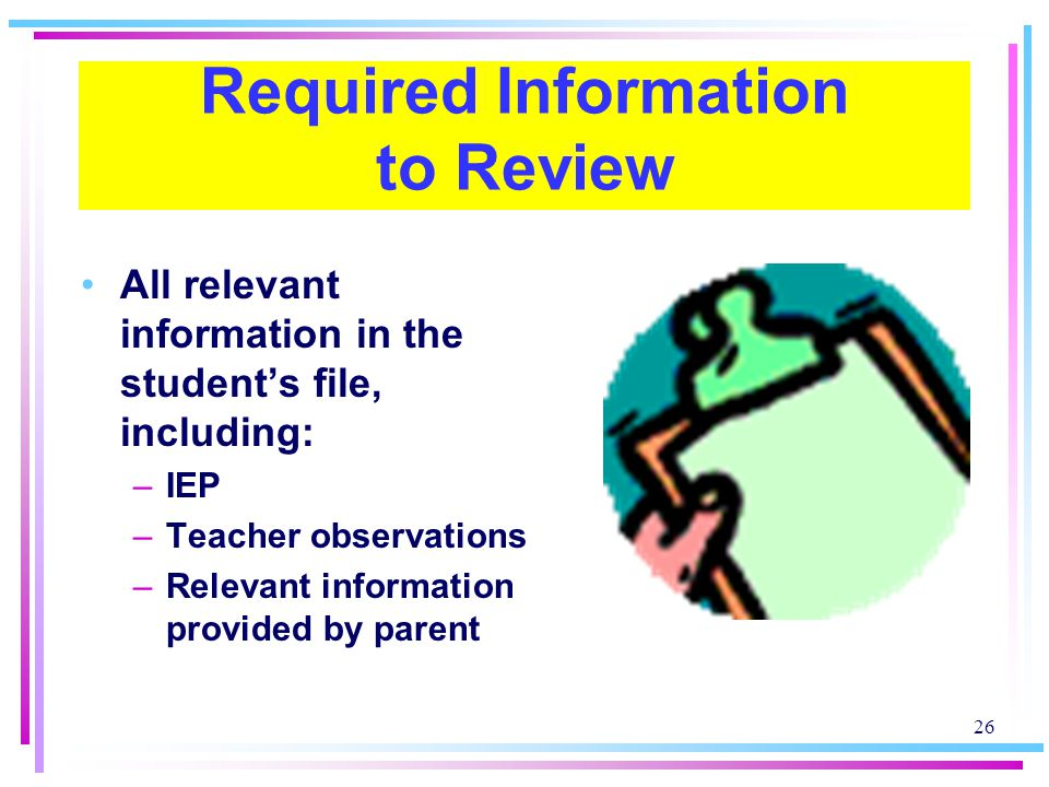 Required Information to Review