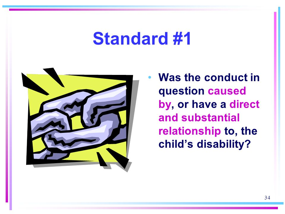 Standard #1 Was the conduct in question caused by, or have a direct and substantial relationship to, the child's disability