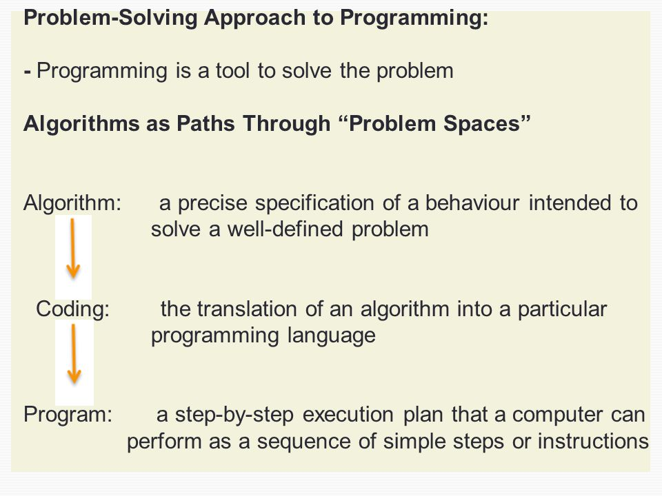 Problem-Solving Approach to Programming: