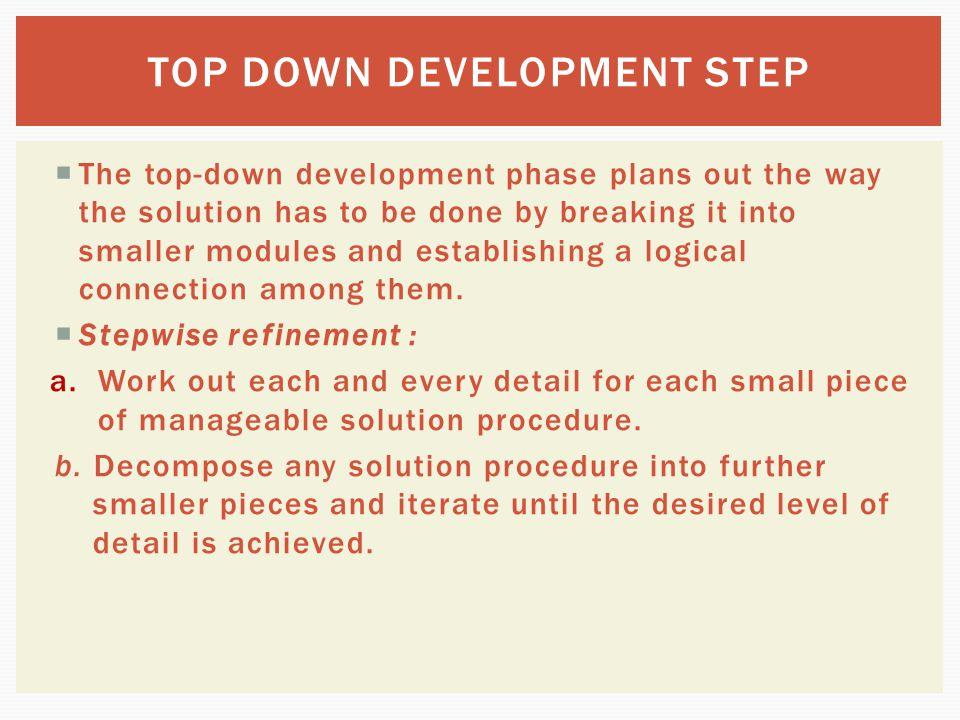 TOP DOWN DEVELOPMENT STEP