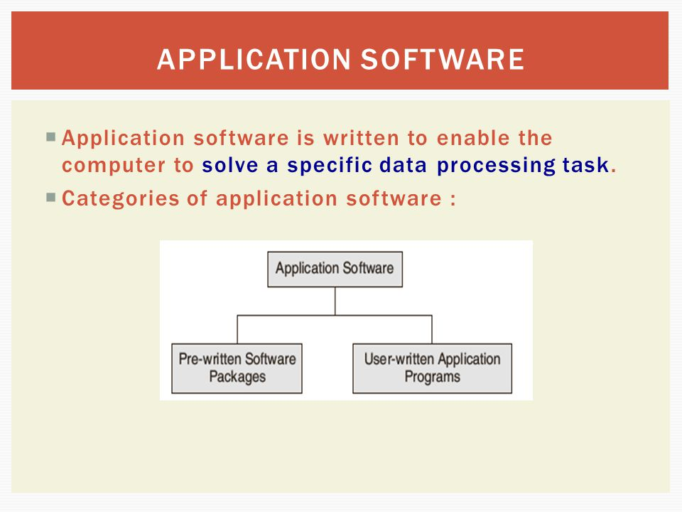 APPLICATION SOFTWARE Application software is written to enable the computer to solve a specific data processing task.