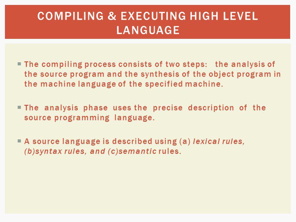 COMPILING & EXECUTING HIGH LEVEL LANGUAGE