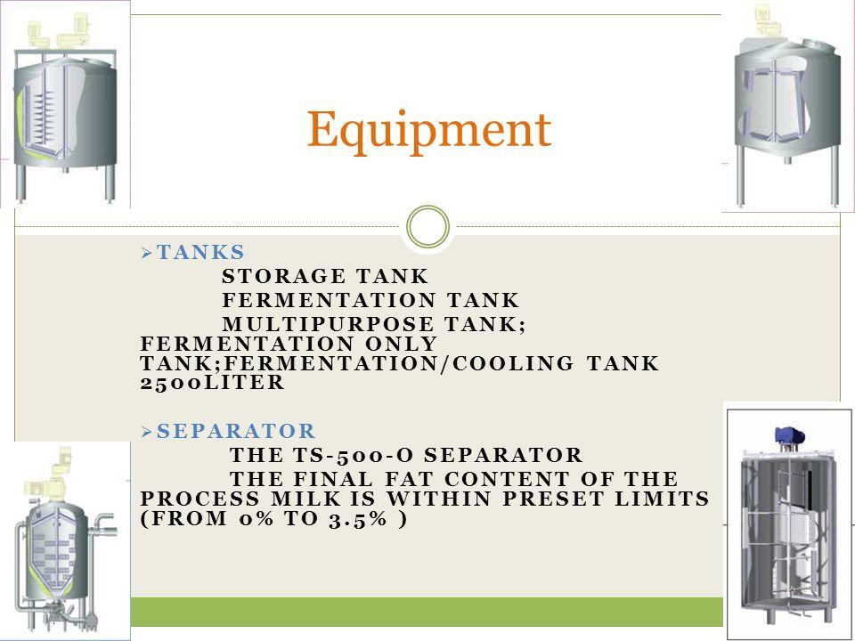 Equipment Tanks Storage tank Fermentation tank
