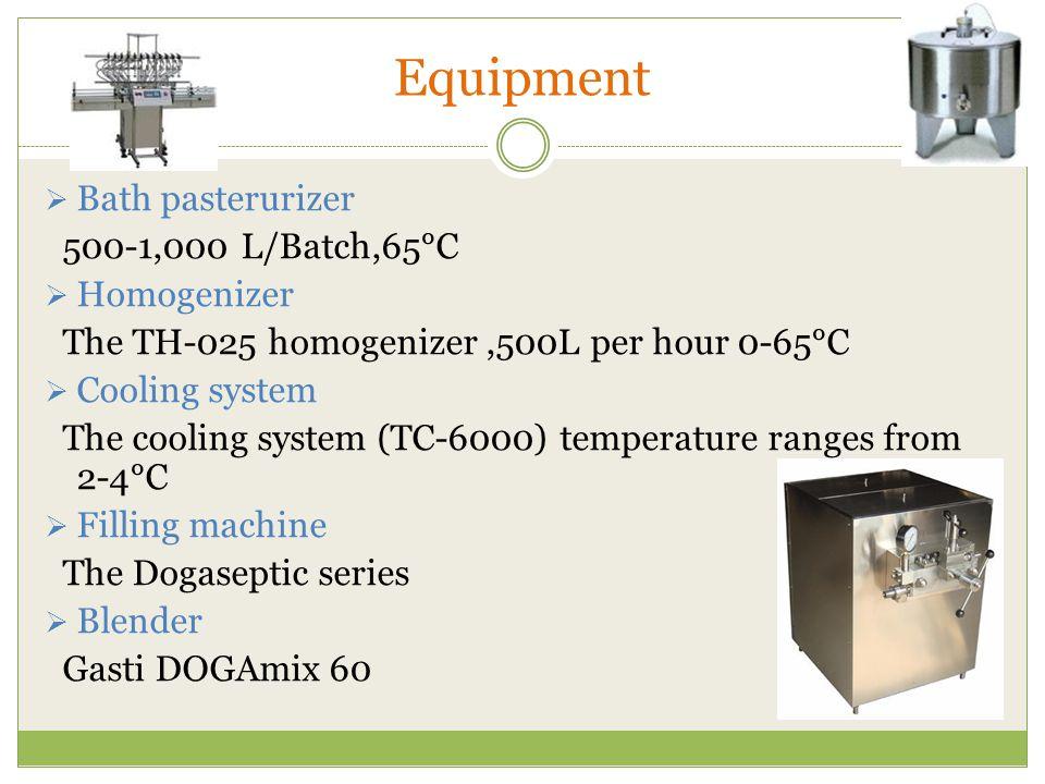 Equipment Bath pasterurizer 500-1,000 L/Batch,65°C Homogenizer