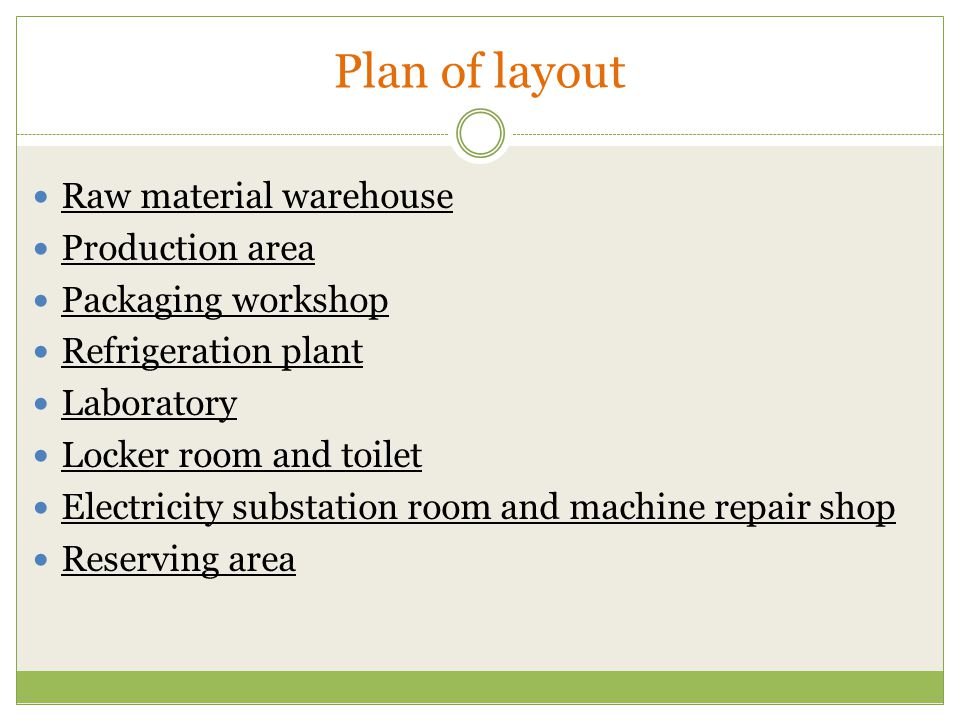 Plan of layout Raw material warehouse Production area