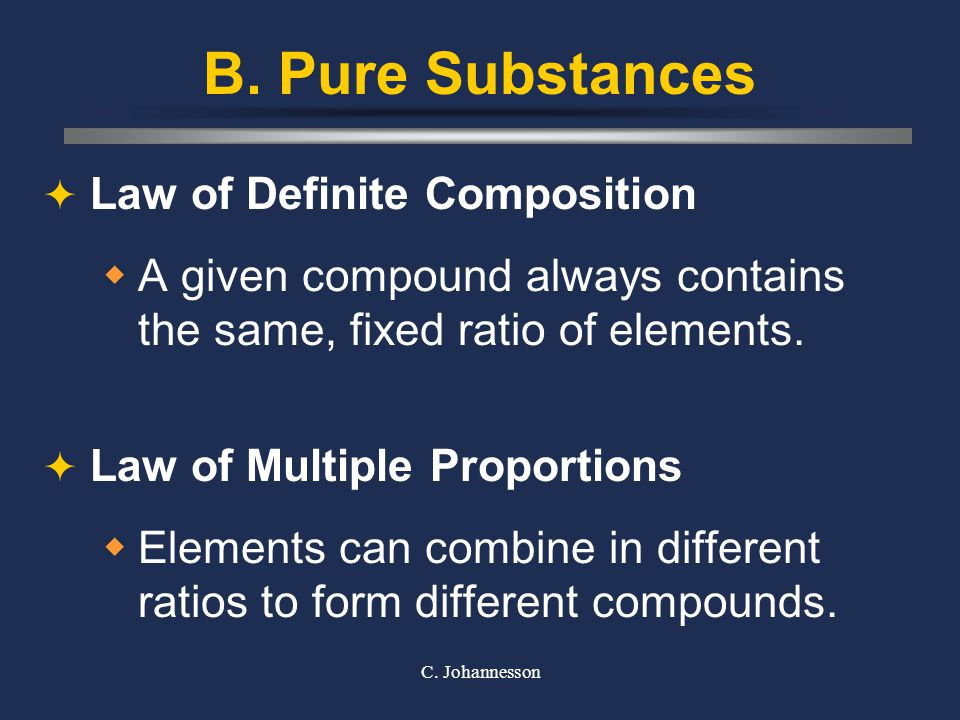B. Pure Substances Law of Definite Composition