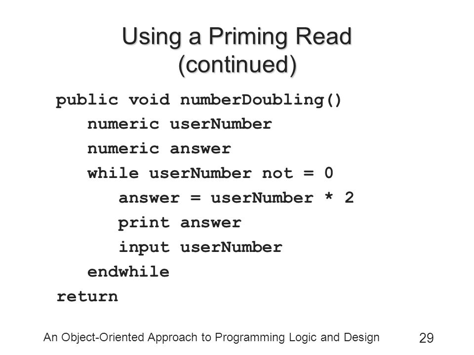 Using a Priming Read (continued)