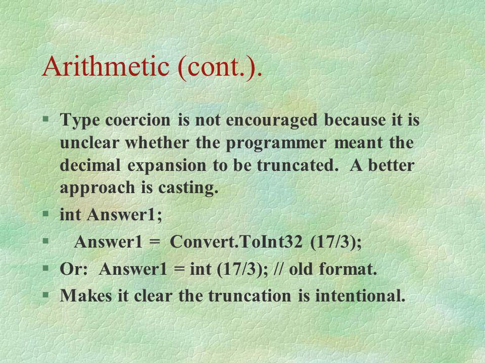 Arithmetic (cont.).