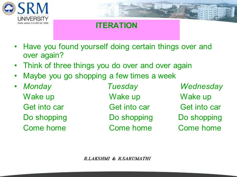 ITERATION Have you found yourself doing certain things over and over again Think of three things you do over and over again.