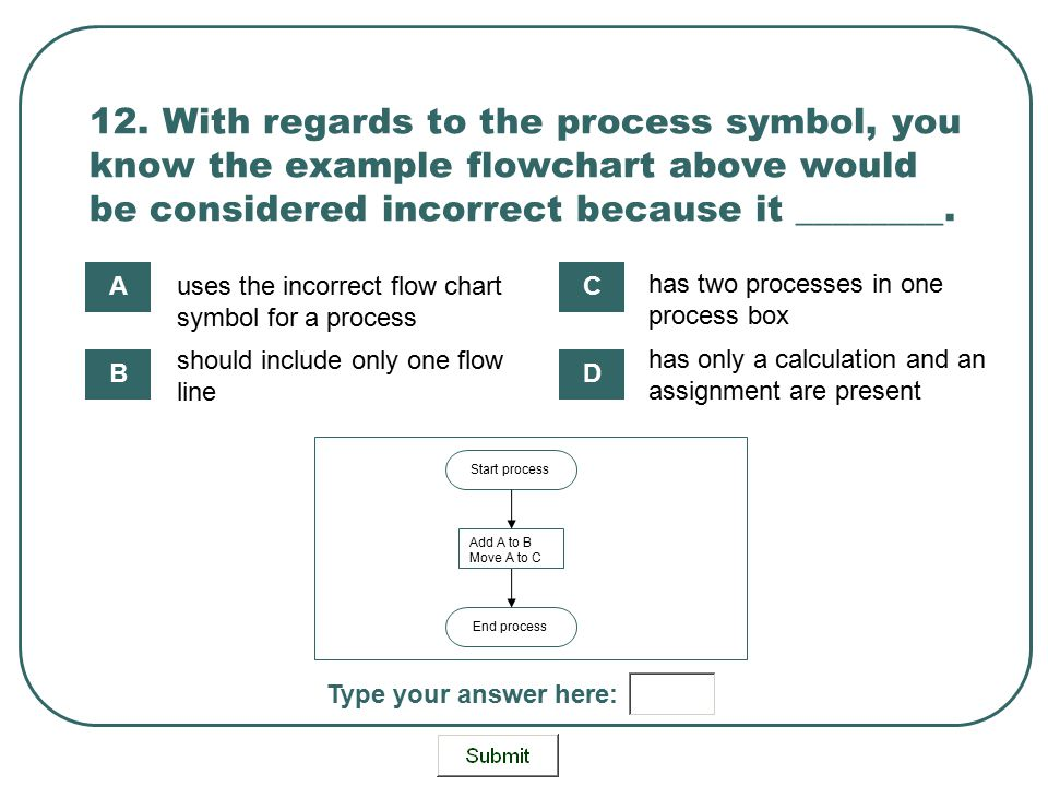 12. With regards to the process symbol, you know the example flowchart above would be considered incorrect because it ________.