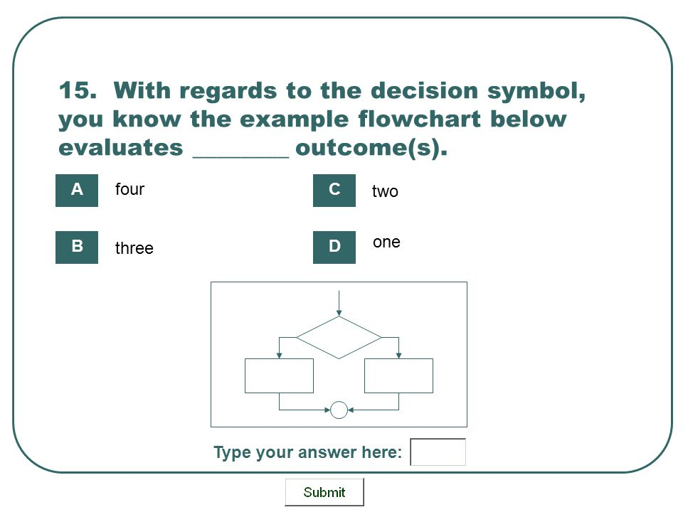 15. With regards to the decision symbol, you know the example flowchart below evaluates ________ outcome(s).
