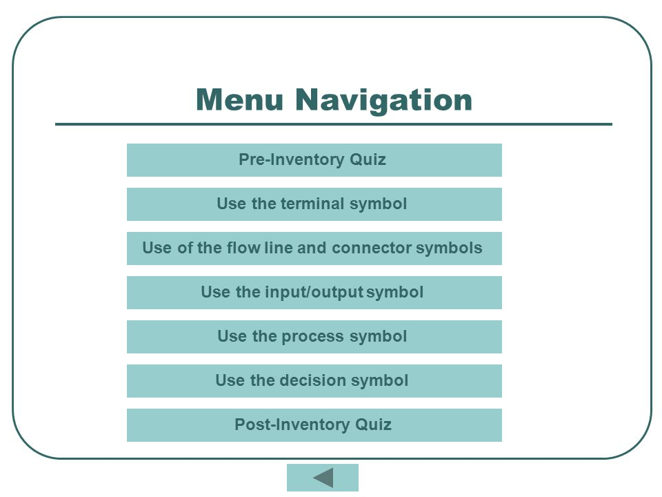 Menu Navigation Pre-Inventory Quiz Use the terminal symbol
