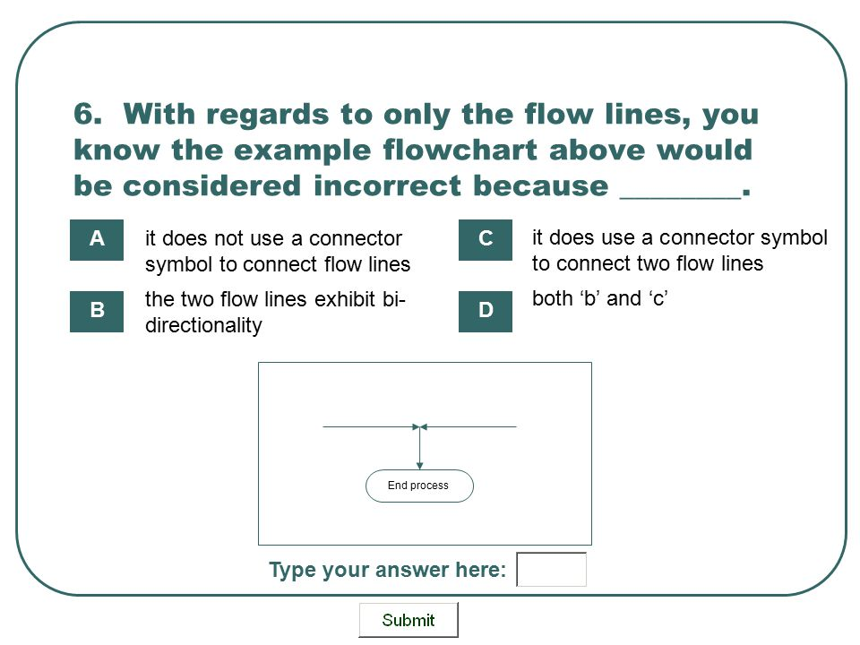 6. With regards to only the flow lines, you know the example flowchart above would be considered incorrect because ________.