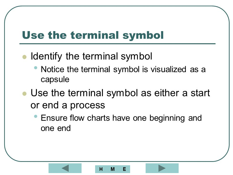 Use the terminal symbol
