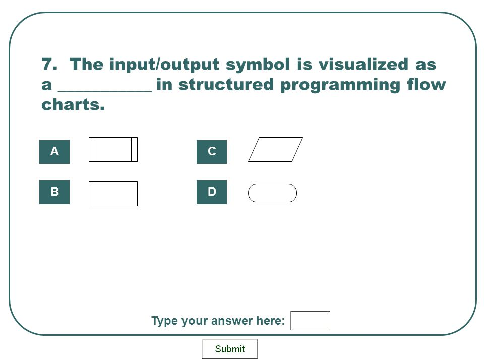 7. The input/output symbol is visualized as a ___________ in structured programming flow charts.