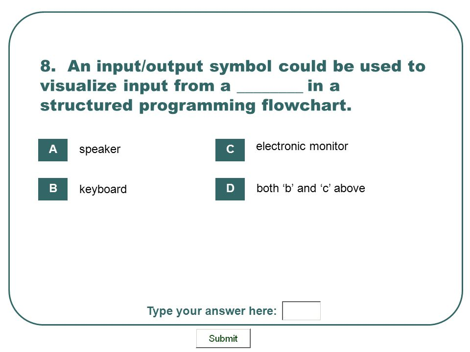 8. An input/output symbol could be used to visualize input from a ________ in a structured programming flowchart.