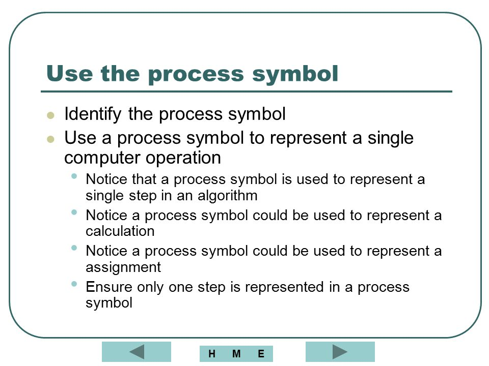 Use the process symbol Identify the process symbol