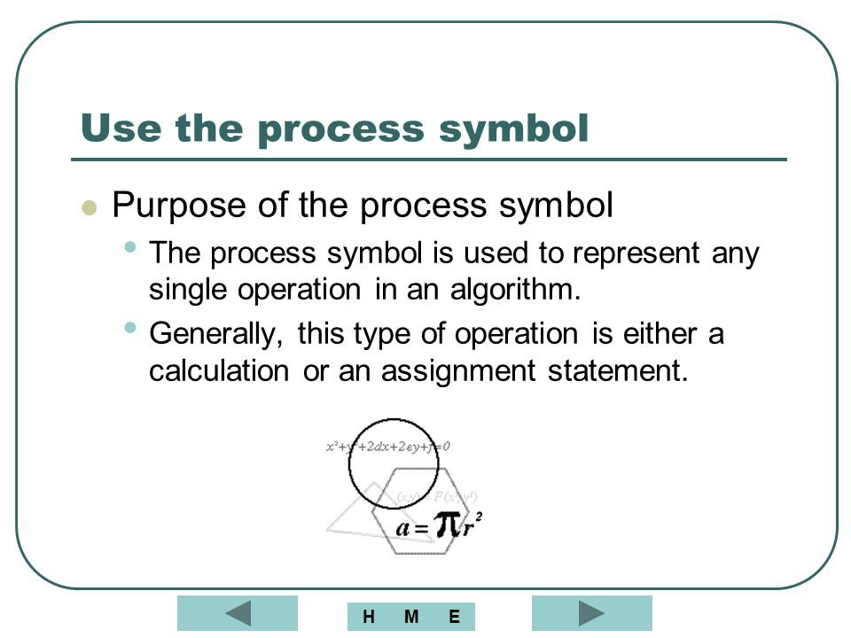 Use the process symbol Purpose of the process symbol