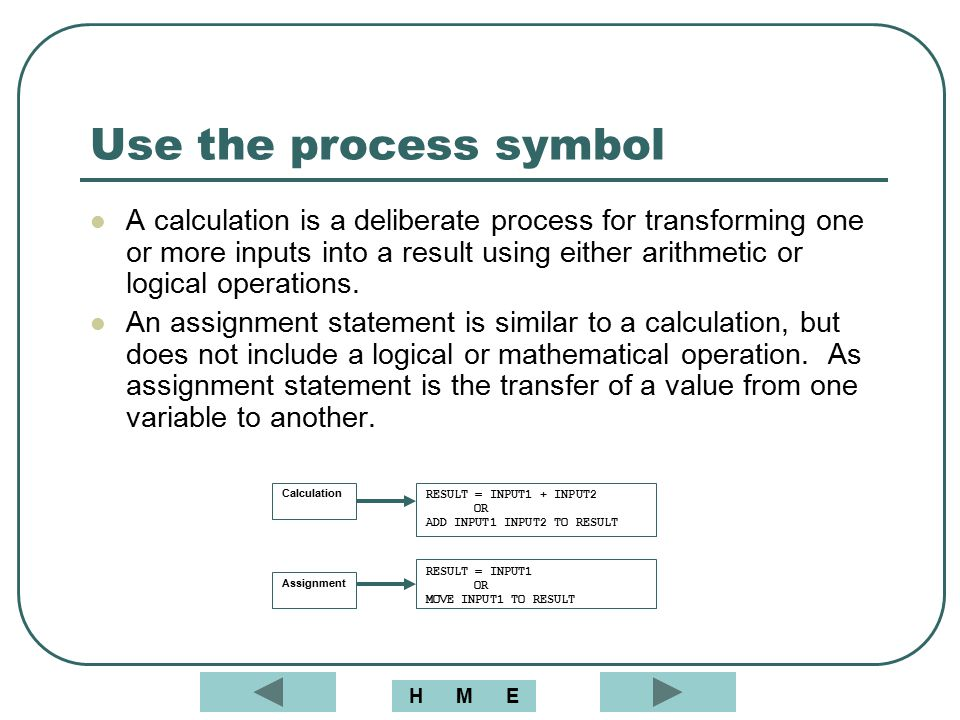 Use the process symbol