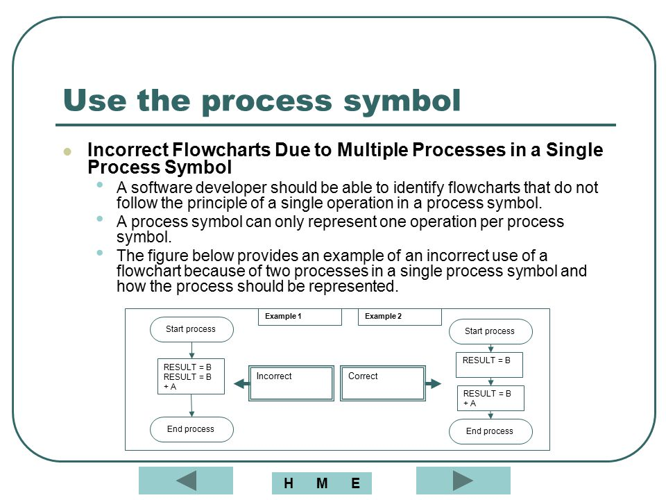 Use the process symbol Incorrect Flowcharts Due to Multiple Processes in a Single Process Symbol.