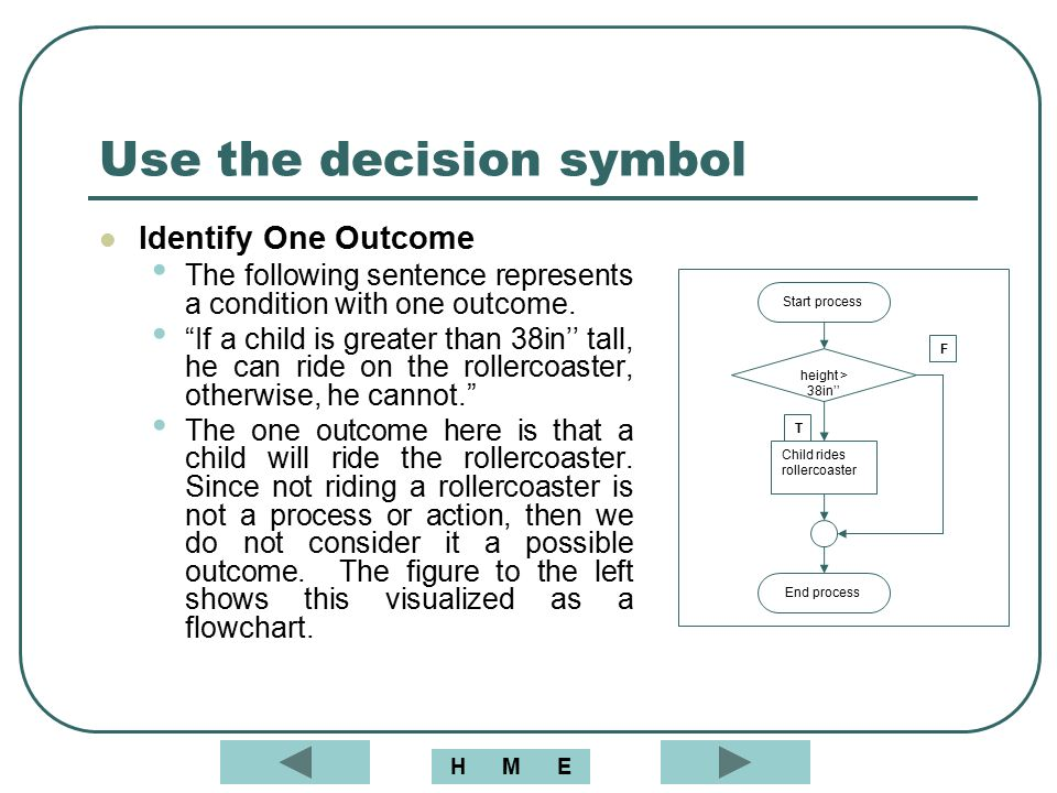 Use the decision symbol