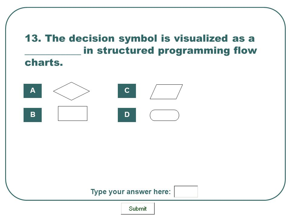 13. The decision symbol is visualized as a ___________ in structured programming flow charts.