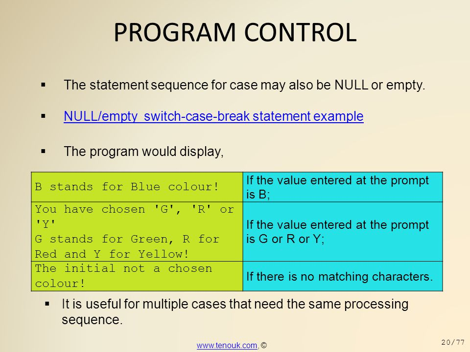 PROGRAM CONTROL The statement sequence for case may also be NULL or empty. NULL/empty switch-case-break statement example.