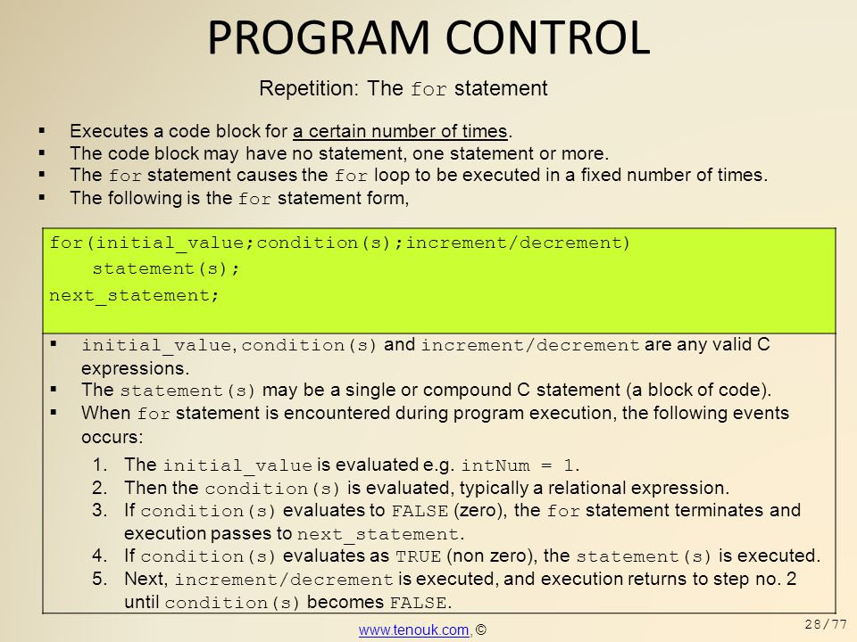 PROGRAM CONTROL Repetition: The for statement