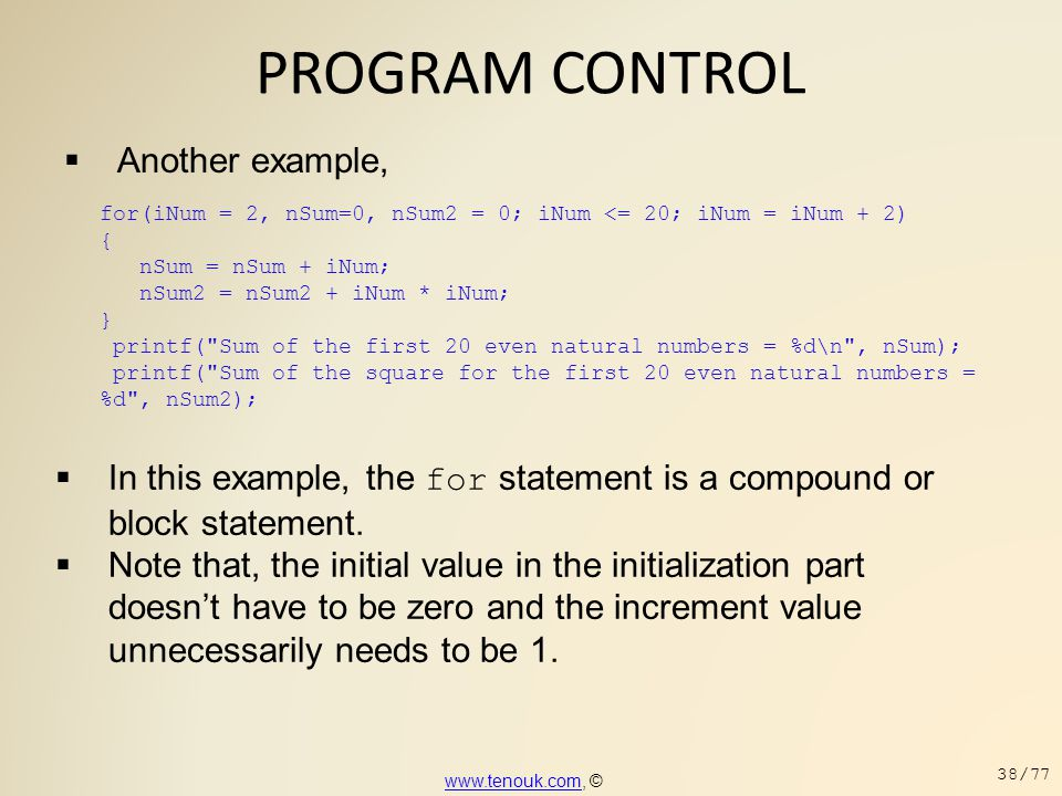 PROGRAM CONTROL Another example,
