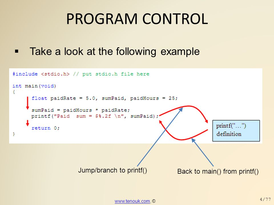 PROGRAM CONTROL Take a look at the following example
