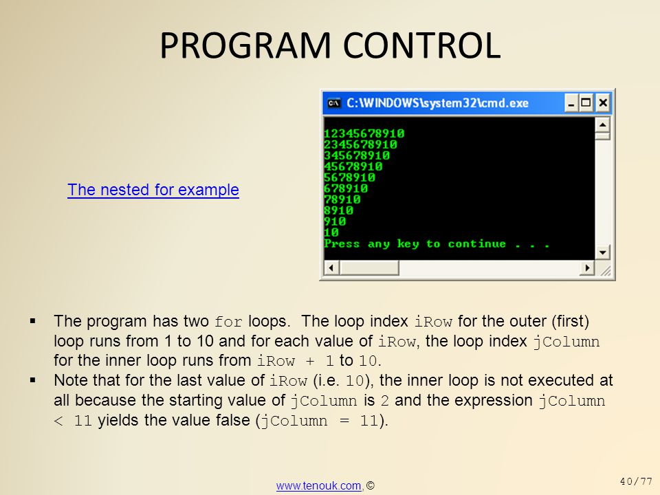 PROGRAM CONTROL The nested for example