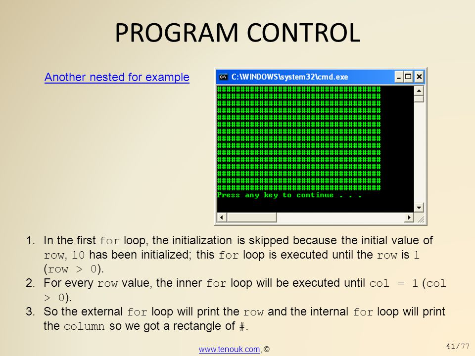 PROGRAM CONTROL Another nested for example