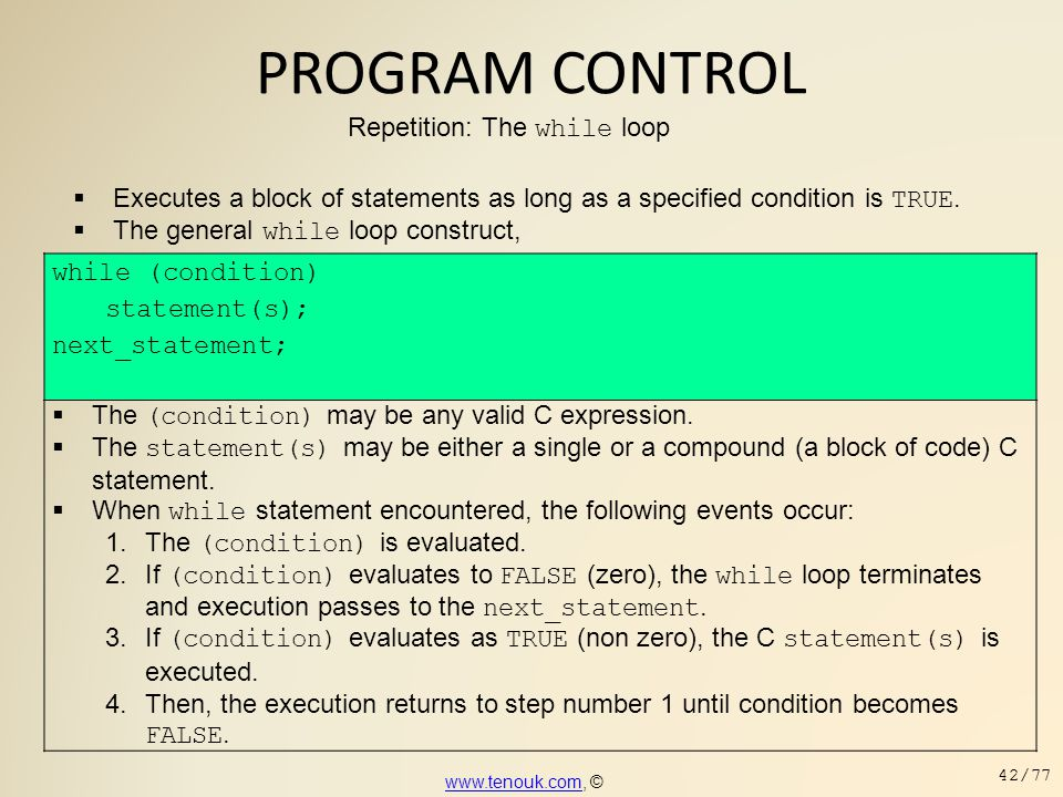 PROGRAM CONTROL Repetition: The while loop while (condition)