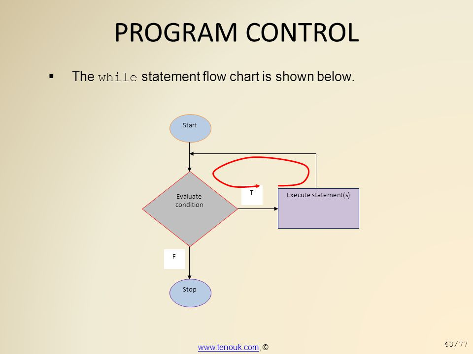 PROGRAM CONTROL The while statement flow chart is shown below.