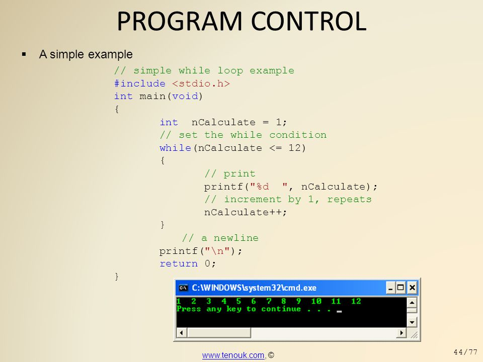 PROGRAM CONTROL A simple example // simple while loop example