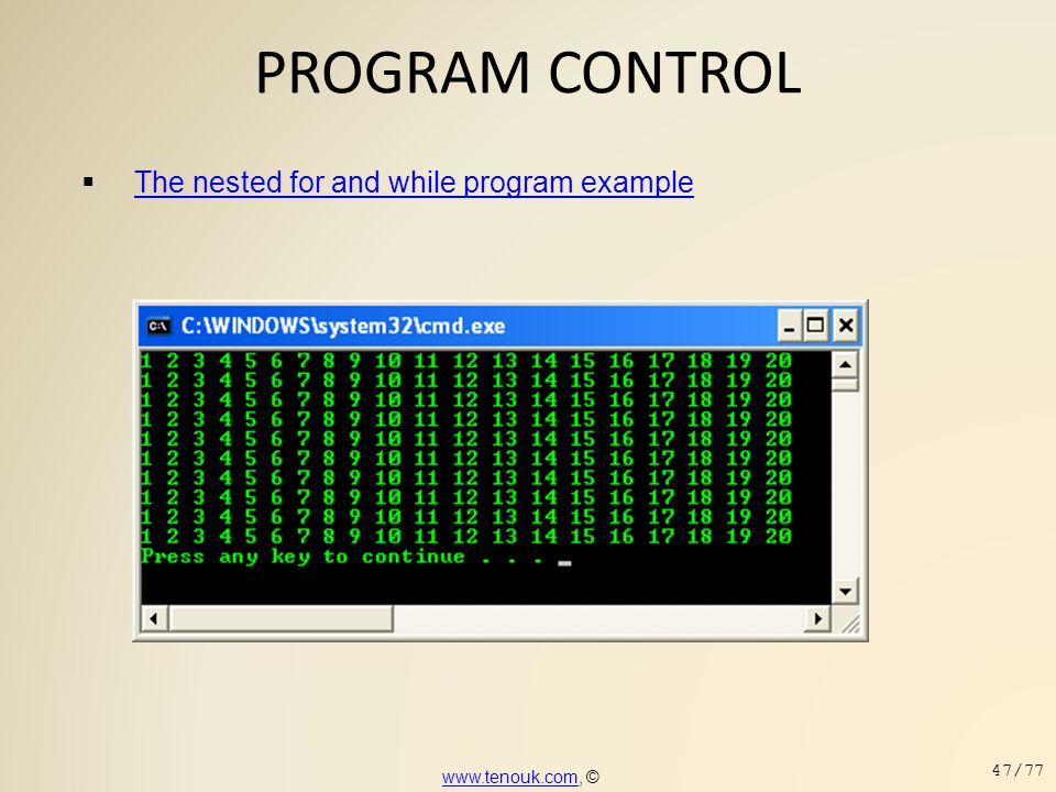PROGRAM CONTROL The nested for and while program example