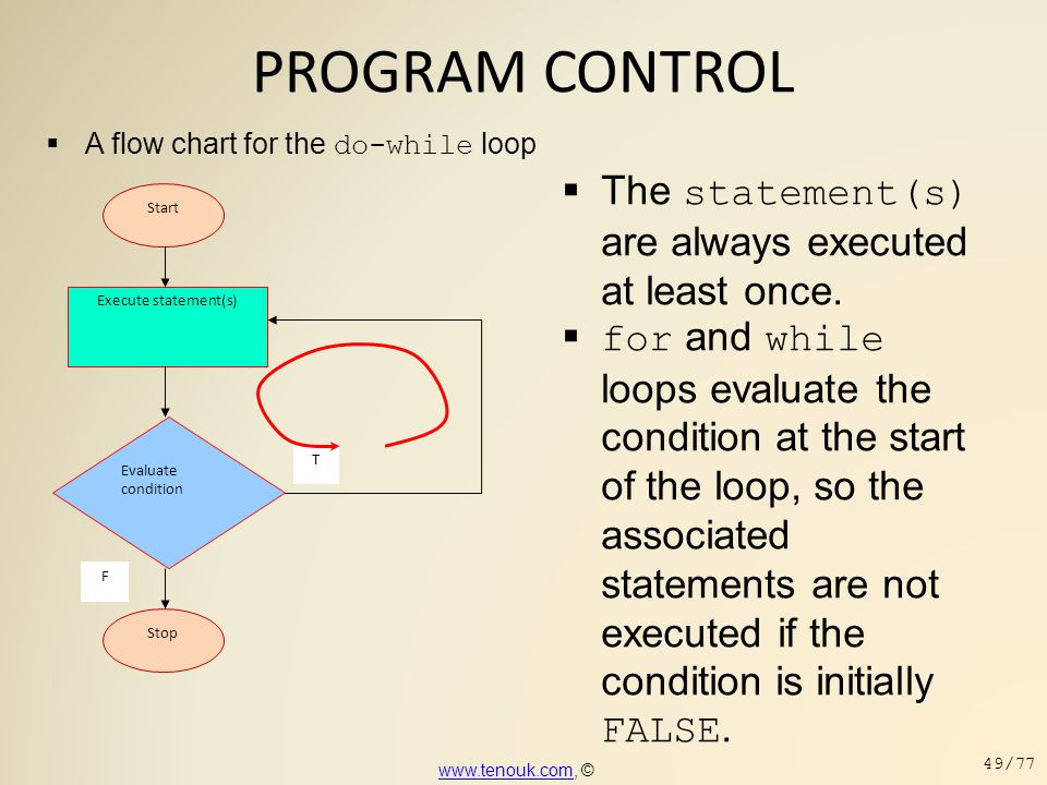 PROGRAM CONTROL The statement(s) are always executed at least once.