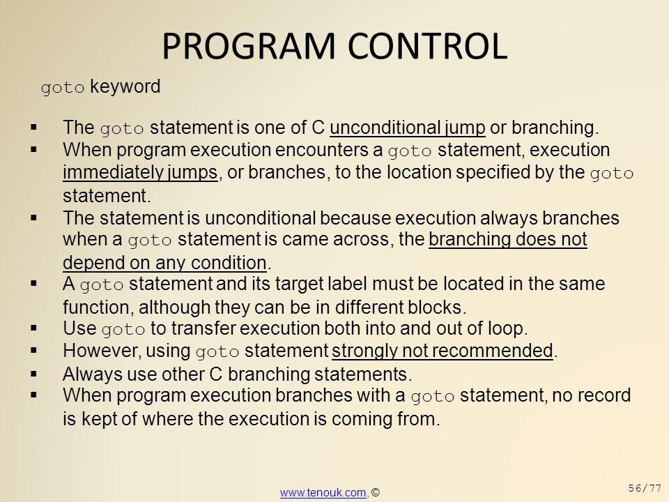 PROGRAM CONTROL goto keyword