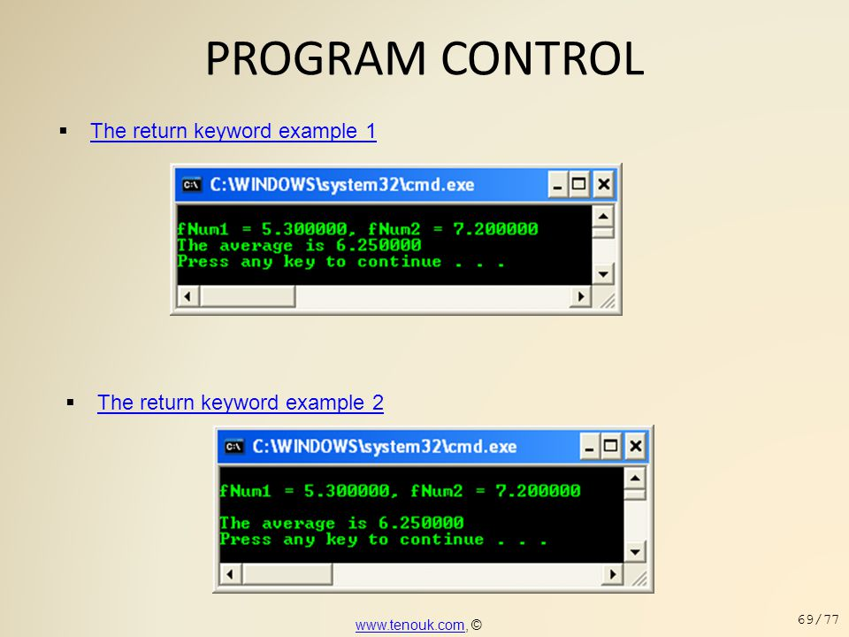 PROGRAM CONTROL The return keyword example 1