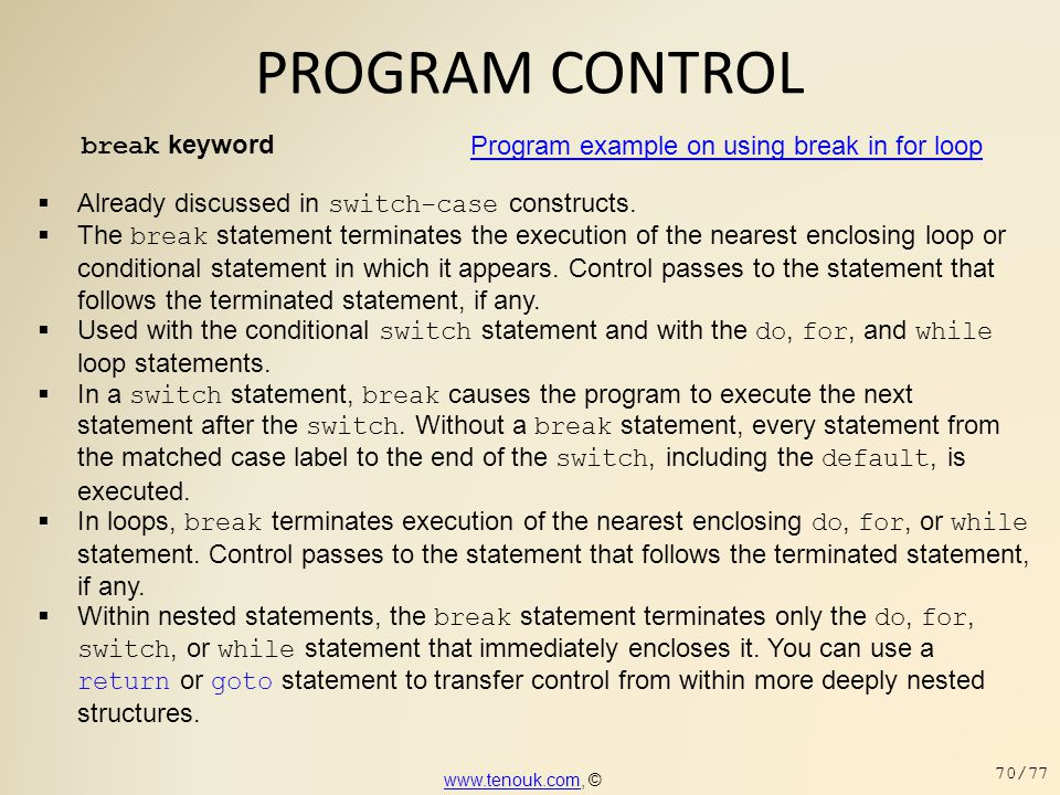 PROGRAM CONTROL break keyword